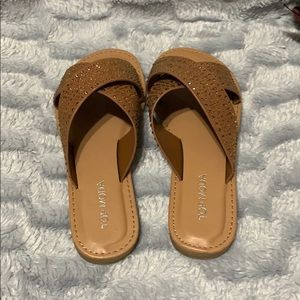 2a3274d8dc8a TOP Moda Shoes - Brown criss cross spring sandals w  rhinestones
